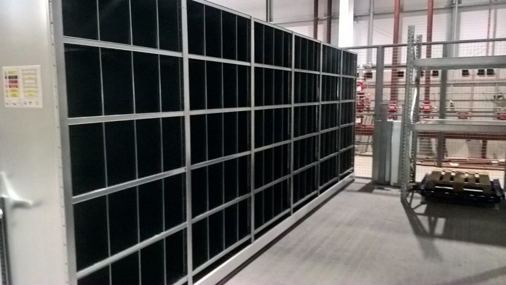 Dexion Hi80 Shelving on Mobile Base - Full Height Dividers used to create pigeon holes