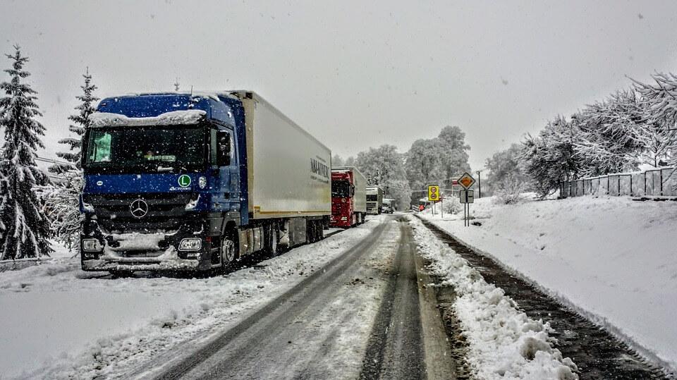 Lorries battle through icy roads